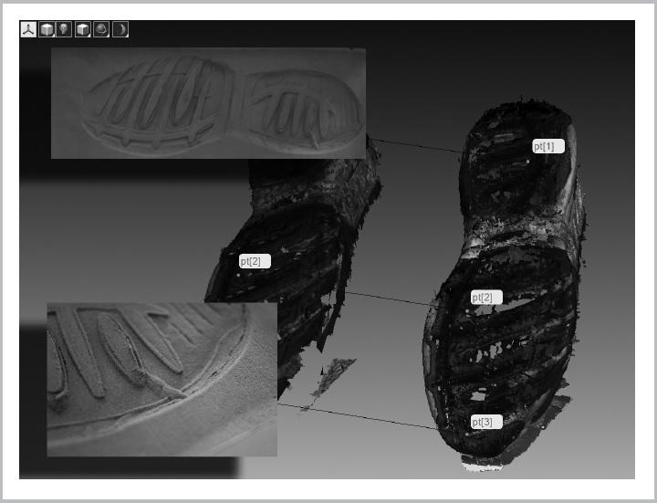 Lábnyom tárgyszkennerrel történt mérése alapján előállított 3D-s modell, amely segítségével a gyanúsított lábbelije és a lábnyom illeszkedése vagy eltérése gyorsan és pontosan vizsgálható.